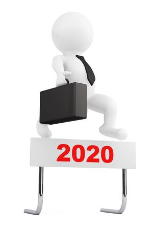 3d Businessman jump over the 2020 Year Barrier on a white background. 3d Rendering