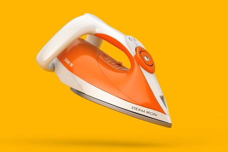 Electric Clothes Steam Iron on a yellow background. 3d Rendering