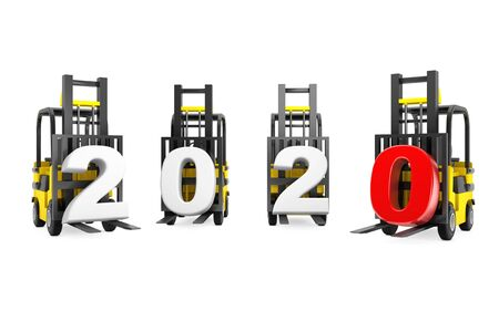 Forklift Trucks with 2020 New Year Sign on a white background. 3d Rendering Banco de Imagens