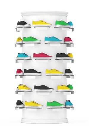 Many Multicolour Sneakers Footwear Exhibition on Shelf for Sale in Fashion Shop on a white background. 3d Rendering 写真素材