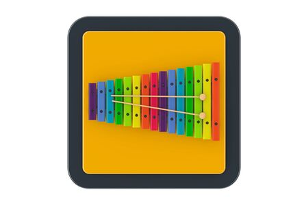 Colorful Wooden Xylophone with Mallets as Touchpoint Web Icon Button on a white background. 3d Rendering