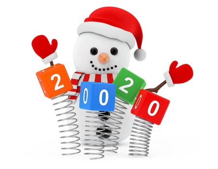 New Year Concept. Snowman near Christmas Spring Cubes with 2020 New Year Sign on a white background. 3d Rendering
