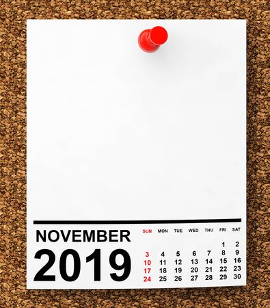 Calendar November 2019 on Blank Note Paper with Free Space for Your Text.3d Rendering