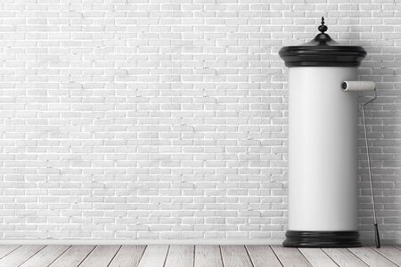 Empty Blank Cylindrical Advertising Column Billboard Mockup with Free Space for Your Design with Glue Brush in front of brick wall. 3d Rendering Banco de Imagens