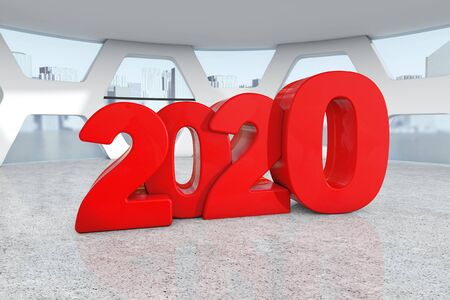 Red New 2020 Year Sign in Abstract Bright Office Meeting Room extreme closeup. 3d Rendering