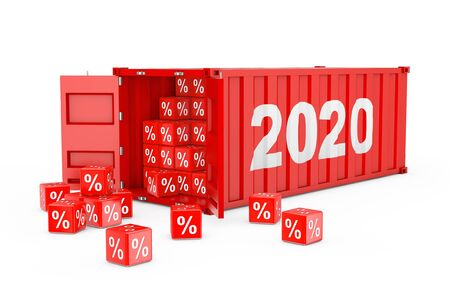 2020 New Year Red Cargo Shipping Container with Discount Percent Cubes on a white background. 3d Rendering 写真素材