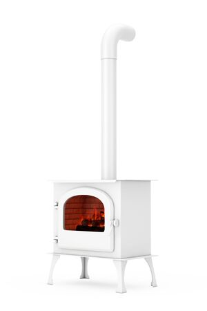 Classic �žpen Home Fireplace Stove with Chimney Pipe and Firewood Burning in Red Hot Flame in Clay Style on a white background. 3d Rendering