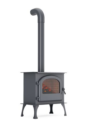 Classic Оpen Home Fireplace Stove with Chimney Pipe and Firewood Burning in Red Hot Flame on a white background. 3d Rendering