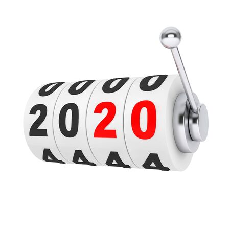 Casino Slot Machine with 2020 New Year Sign on a white background. 3d Rendering