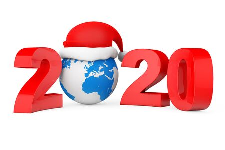 2020 New Year Concept. Santa Hat over Earth Globe on a white background. 3d Rendering 写真素材 - 130803023