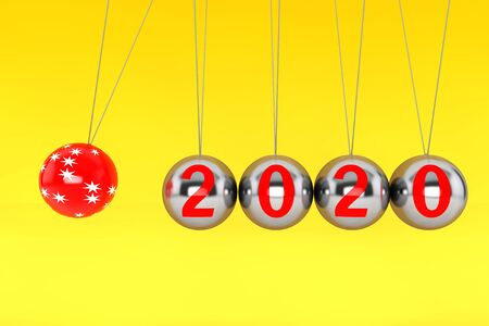 New Year concept. Spheres of Newton with 2020 Sign on a yellow background. 3d Rendering