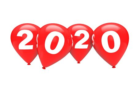 New Year Concept. Red Christmas Balloons with 2020 Sign on a white background. 3d Rendering