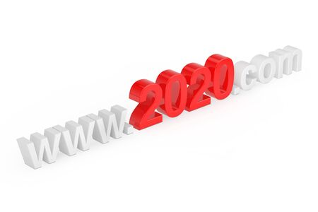 2020 New Year Concept. WWW 2020 Com Site Name on a white background. 3d Rendering
