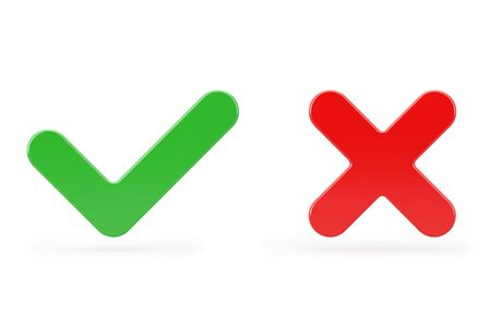 Red Cross and Green Check Mark, Confirm or Deny, Yes or No Icon Sign on a white background. 3d Rendering Stok Fotoğraf