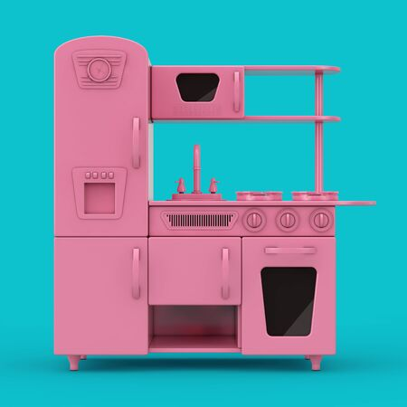 Pink Vintage Toy Kitchen Mockup Duotone on a blue background. 3d Rendering 写真素材 - 130803030