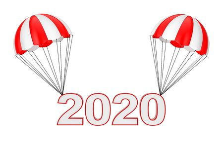 Happy New Year 2020 Sign Flying on Parachute on a white background. 3d Rendering
