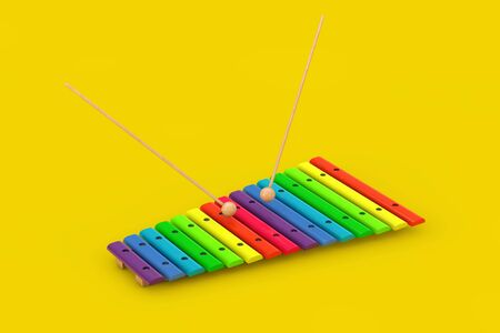 Colorful Wooden Xylophone with Mallets on a yellow background. 3d Rendering