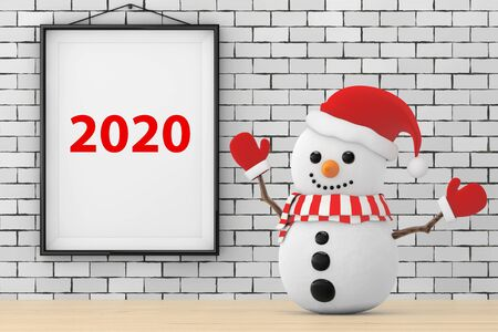 Snowman in front of Brick Wall with Frame 2020 Sign extreme closeup. 3d Rendering