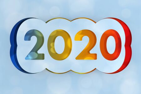 2020 Happy New Year Sign Cut from Paper on a blue background. 3d Rendering