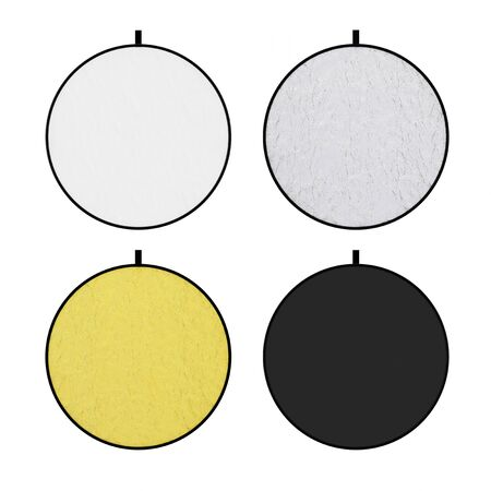 Set of Photograpic White, Silver, Gold and Black Disk Light Reflector Diffuser Screen on a white background. 3d Rendering Banco de Imagens