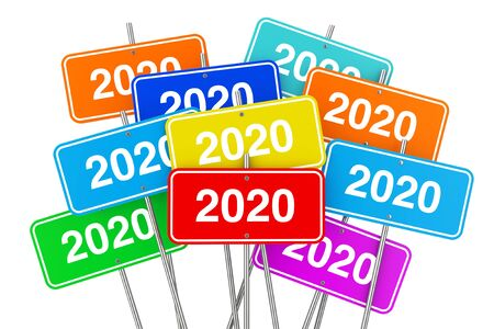 2020 New Year Color Signs on a white background. 3d Rendering 写真素材