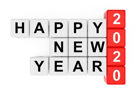 New 2020 Year concept. Happy New Year 2020 Sign as Crossword Blocks on a white background. 3d Rendering.
