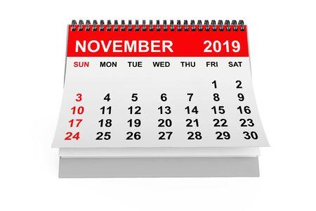 2019 Year November Calendar on a white background. 3d rendering 写真素材