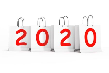 Shopping Bags with 2020 New Year Sign on a white background. 3d Rendering