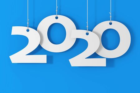 Hanging on Ropes New 2020 Year Sign on a blue background. 3d Rendering 写真素材