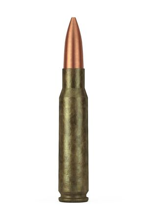 Automatic Rifles 7.62 mm Caliber Metal Bullet on a white background. 3d Rendering 写真素材