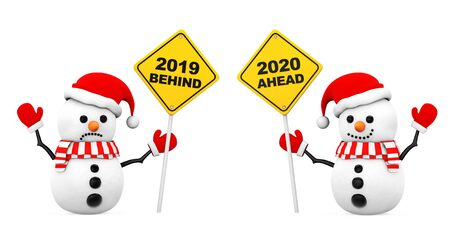 Snowmans with 2019 and 2020 Year Signs on a white background. 3d Rendering