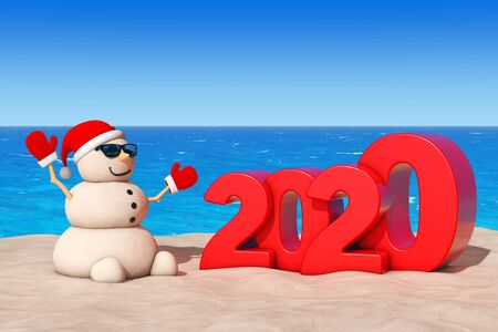 Sandy Christmas Snowman at Sunny Beach with 2020 New Year Sign extreme closeup. 3d Rendering