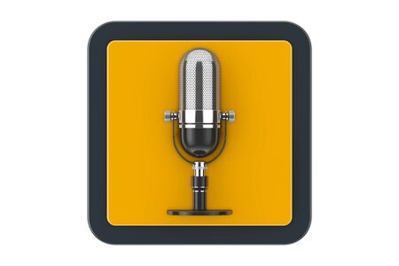 Retro Microphone as Touchpoint Web Icon Button on a white background. 3d Rendering
