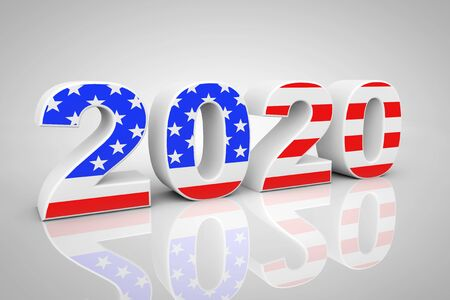 New Year 2020 Sign as USA Flag on a grey background. 3d Rendering Imagens