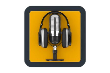 Black Modern Headphones with Retro Microphone as Touchpoint Web Icon Button on a white background. 3d Rendering