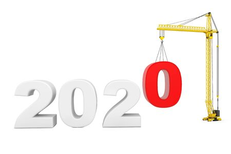 Build the Future Concept. Tower Crane with 2020 Year Sign on a white background. 3d Rendering 写真素材