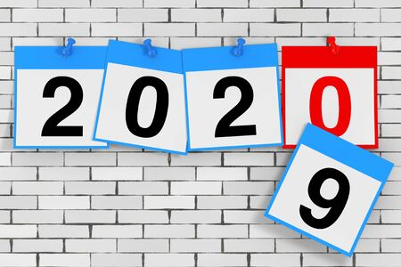 New 2020 Year Start Concept. Calendar Sheets with 2020 New Year Sign шт front of brick wall. 3d Rendering