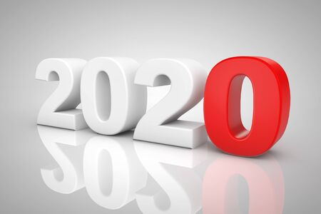 New Year 2020 3d Sign on a grey background. 3d Rendering 写真素材