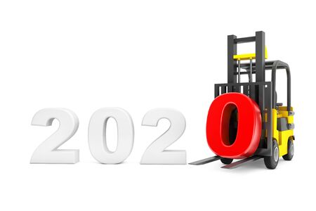 Forklift Truck with 2020 New Year Sign on a white background. 3d Rendering Banco de Imagens