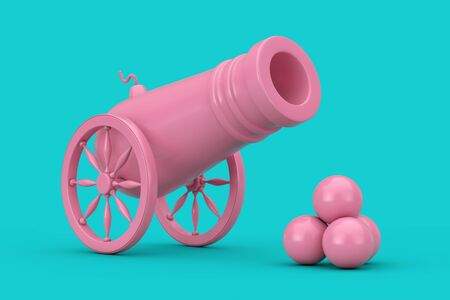 Pink Old Pirate Cannon with Cannonballs Duotone on a blue background. 3d Rendering