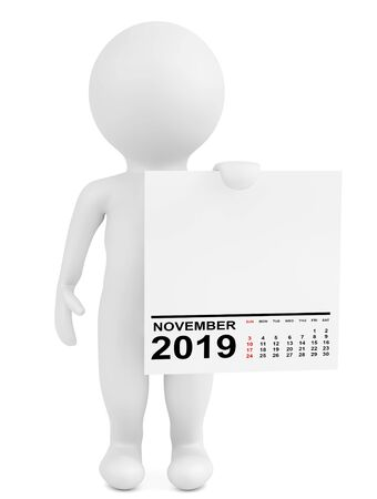 Character Holding Calendar November 2019 Year on a white background. 3d Rendering