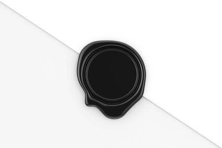 Black Wax Seal with Blank Space for Your Design on a white paper background. 3d Rendering 写真素材