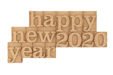 Vintage wood type Printing Blocks with Happy New 2020 Year Slogan on a white background. 3d Rendering 版權商用圖片