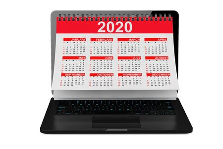 2020 Year Calendar over Laptop Screen on a white background. 3d Rendering 写真素材