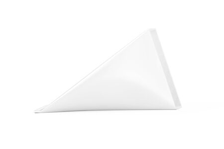 White Cardboard Triangle Box Cream, Juice or Milk Pack Mock Up on a white background. 3d Rendering Standard-Bild