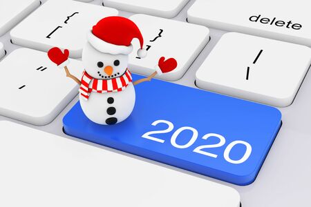 Blue 2020 New Year Key with Snowman on White PC Keyboard extreme closeup. 3d Rendering 写真素材