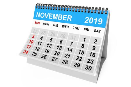 2019 Year November Calendar on a white background. 3d Rendering