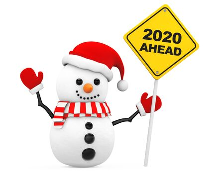 Snowman with 2020 New Year Ahead Sign on a white background. 3d Rendering