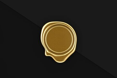 Gold Wax Seal with Blank Space for Your Design on a black paper background. 3d Rendering