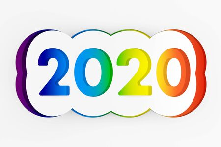 2020 Happy New Year Sign Cut from Paper on a white background. 3d Rendering